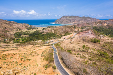 Aerial view of the road leading to the Are Guling beach in Kuta, South Lombok in Indonesia