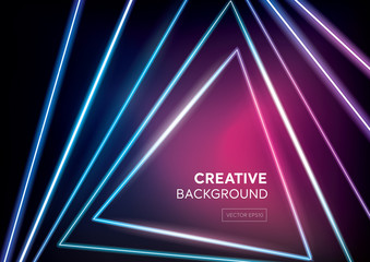Futuristic creative design dark background with colorful neon light beams