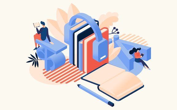 Learning languages concept. Educative classes vector illustration. Education school and travel programs for distance online learning. Books and people, headphones in isometric style