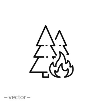 forest in fire icon, wildfire outline sign, thin line symbol on white background - editable stroke vector illustration eps10