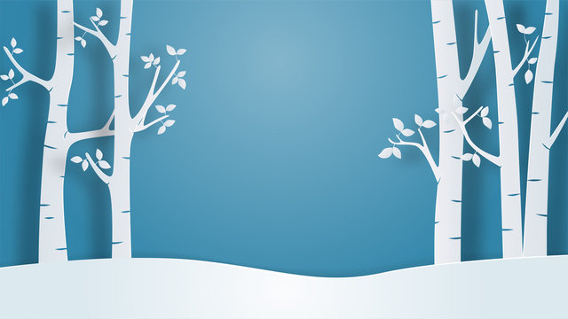 Winter landscape view background in paper cut style. Vector illustration with snow field and tree in forest. Design for poster, wallpaper, backdrop, banner, cover, template.