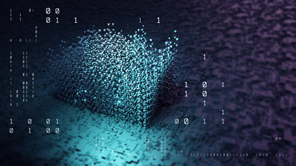 Binary code  background/Abstract illustration the bytes of the binary code, circles, lines, displacement forming a background pattern big data. Background with depth of field and bokeh
