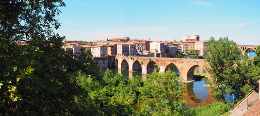 panoramic view of Pont-Vieux (Old Bridge) on the river Tarn in Albi in Occitanie (South of France)