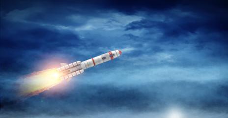 Rocket in the sky. Mixed media