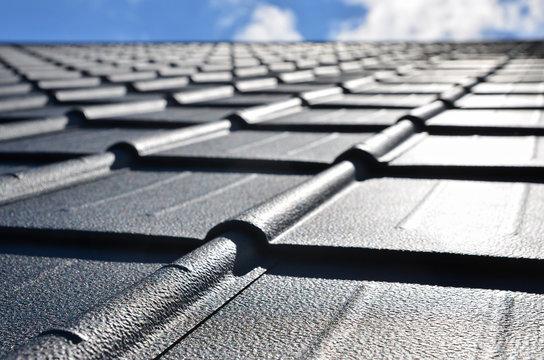 New roof of black sheet metal