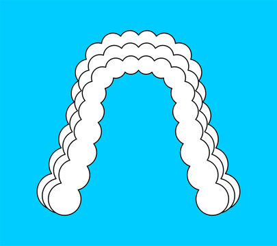Judge wig isolated. White hair curls. vector illustration
