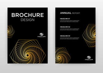 Yellow lined hexagon on black design for annual report, brochure, flyer, poster. Abstract black background vector illustration for flyer, leaflet, poster. Business abstract A4 brochure template.