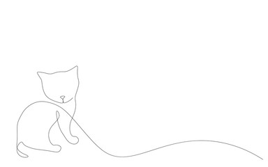Kitten on white background vector illustration