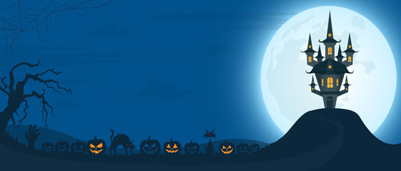 Halloween night background with castle under the moonlight and scary pumpkins. Vector illustration.