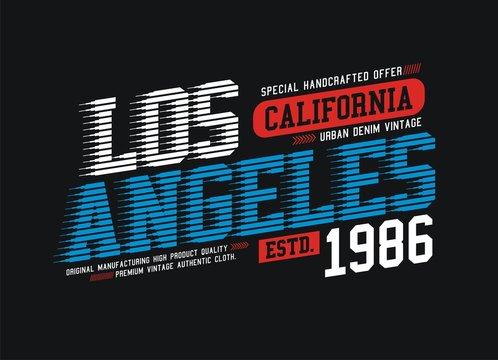 typography Los Angeles, California, t shirt graphic design, vector illustration