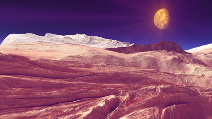 Wall Murals Crimson space mars terrain aerial shot