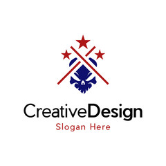Skull Star Scary Military Creative Vector Logo