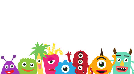 Happy cute cartoon monsters gangs on white background - Vector illustration