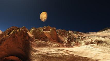 Foto auf Leinwand Braun space mars terrain aerial shot