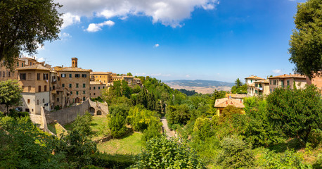 Tuscany, Volterra town skyline, church and panorama view, Maremma, Italy