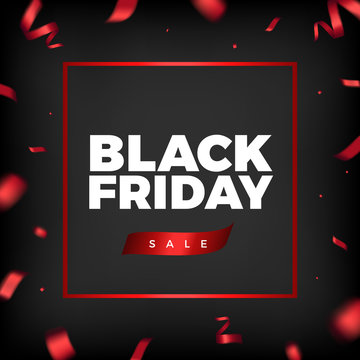 Black Friday background design with red ribbon decoration
