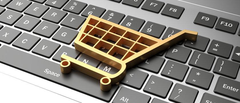 e-commerce symbol on a computer keyboard, black friday concept. 3d illustration