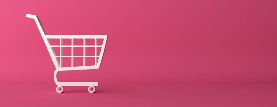 e-commerce symbol on  pink curved background. 3d illustration