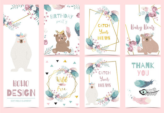 Collection of gold boho cards set with feather,flower,bear.Vector illustration for birthday invitation,postcard and sticker.Editable element
