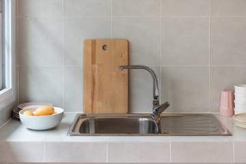 modern sink in modern kitchen room