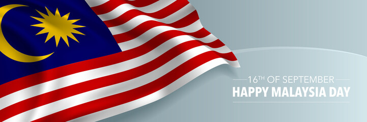 Happy Malaysia day vector banner, greeting card Wall mural