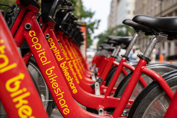 Washington, DC - August 5, 2019: Capital Bikeshare, a bike rental system for residents and tourists in the District of Columbia, powered by Lyft
