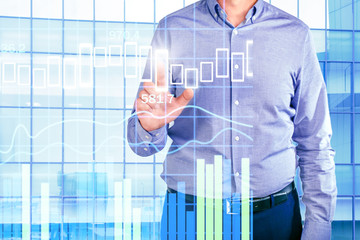 Businessman Working With New Modern Computer. Network and finance concept. Project management, analysis, analytics.