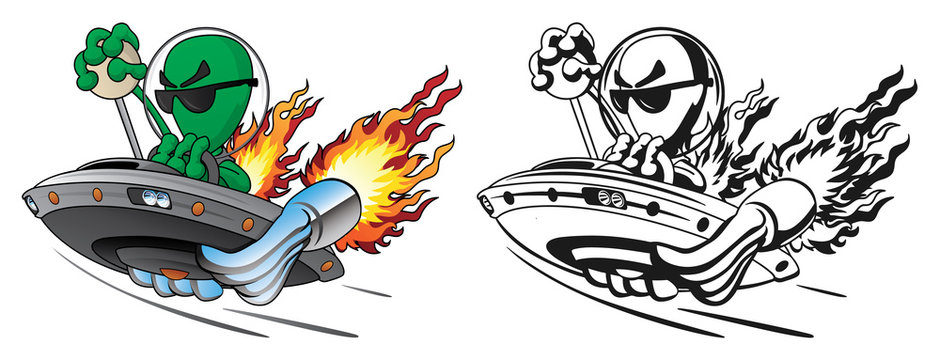 UFO Alien Hot Rod Isolated Vector Illustration in Full Color and Line Art