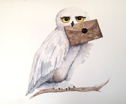 owl holding a letter