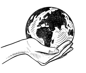 girls holding planet earth illustration