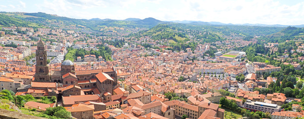 Superb panoramic view of the city of Le Puy en Velay from the rock of Notre Dame de France (Our Lady of France)