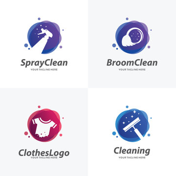 Set of Cleaning Logo Design Templates