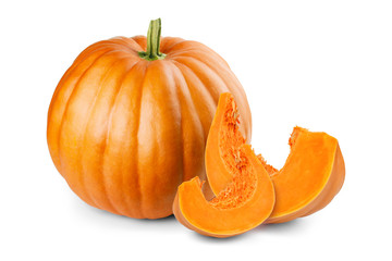 Pumpkin and slices isolated on white background
