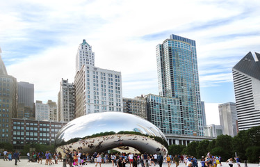CHICAGO,IL/USA - 8-08-2017: View of downtown Chicago skyline and the Cloud Gate sculpture, aka The Bean