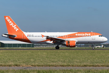 VIJFHUIZEN, THE NETHERLANDS - June 20, 2018: easyJet Switzerland Airbus A320-200 with registration HB-JZX just landed on runway 18R (Polderbaan) of Amsterdam Airport Schiphol.
