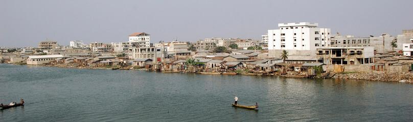 Fototapeta Benin, Cotonou. The city, seen from the bridge  obraz