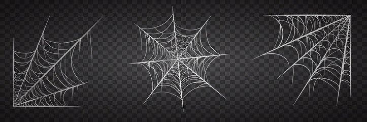 Foto op Canvas Halloween Spiderweb set, isolated on black transparent background. Cobweb for halloween, spooky, scary, horror decor with spiders.