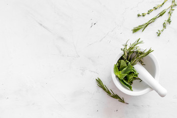 Store up medicinal herbs on white marble background top view space for text