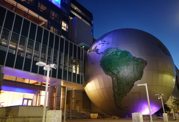 RALEIGH,NC/USA - 10-30-2018: The North Calolina Museum of Natural Sciences, with its oversize globe and modern exterior in downtown Raleigh