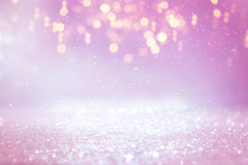 Fototapete - background of abstract glitter lights. purple, pink, gold and silver. de focused