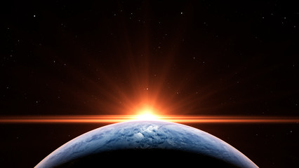 Sunrise over the planet Earth concept with a bright sun and flare and city lights