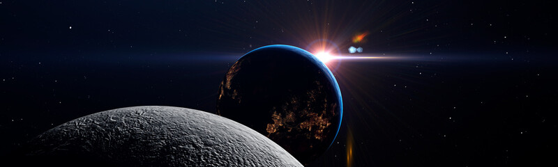 Luna eclipse in space concept showing the moon, planet Earth and the bright sun, panoramic