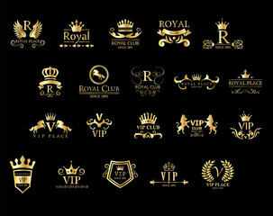 VIP / Royal Logo Set isolated on black background vector