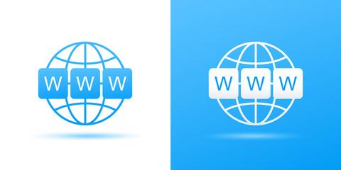 World wide web symbol. WWW icon. Website symbol. Computer keyboard keys. Globe with text www. Vector illustration eps 10 Wall mural