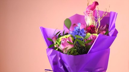 Fotoväggar - Bouquet of beautiful bright flowers. Bunch of flowers for holiday, celebrating. Valentine's Day. Art design. Slow motion 4K UHD video footage. 3840X2160