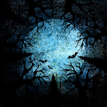 Halloween holiday blue navy gray grunge background with full moon, silhouettes of bats and terrible dead trees