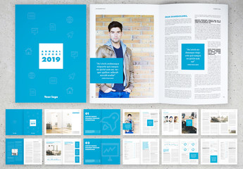 Annual Report Layout with Blue Elements