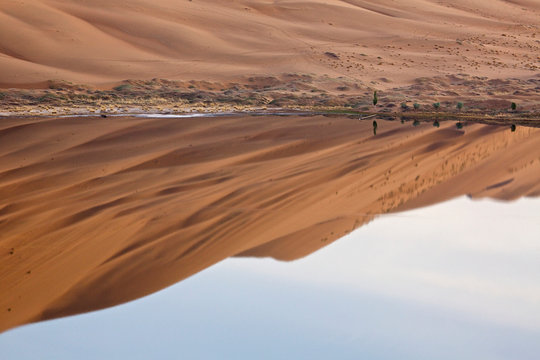 China, Inner Mongolia, Badain Jaran Desert. Desert and sky reflected in lake. Credit as: Ellen Anon / Jaynes Gallery / DanitaDelimont.com