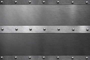 Metal frame, steel plate with rivets