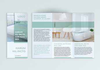 Trifold Brochure Layout with Pastel Green Elements
